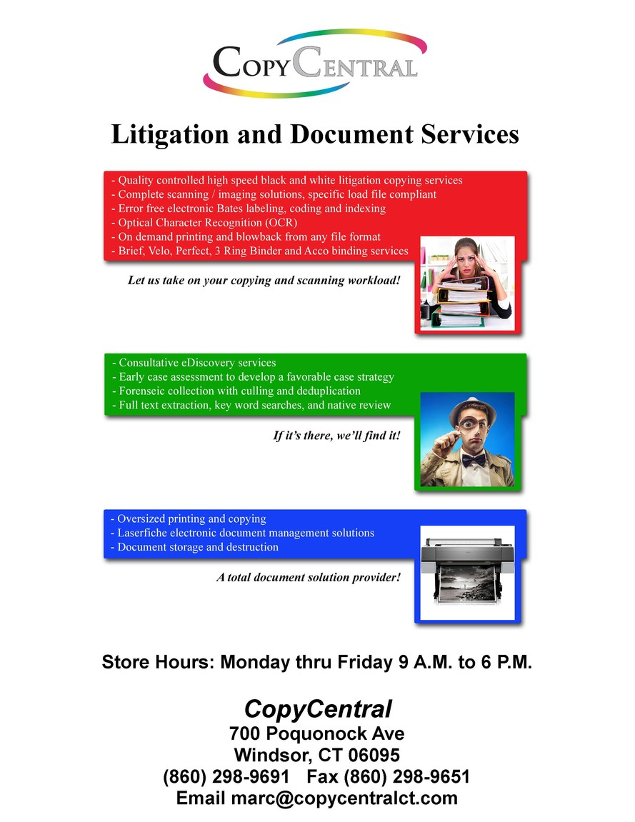 Copycentral windsor ct home reproducing multi page documents creating custom index tabs covers business cards raised full color or flat printed letterheads envelopes reheart Images